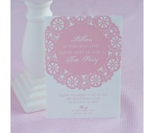 Vintage Pink Doily Tea Party Printable Invitation