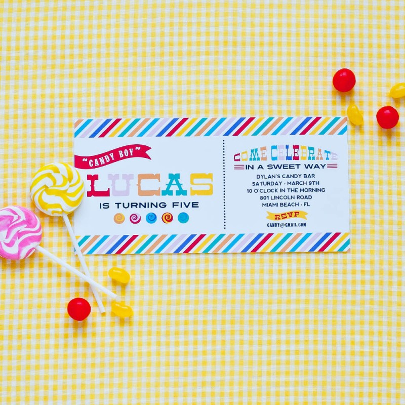 Bar Sweet Shop Printable Birthday Party Invitation – Candy Themed Party Invitations