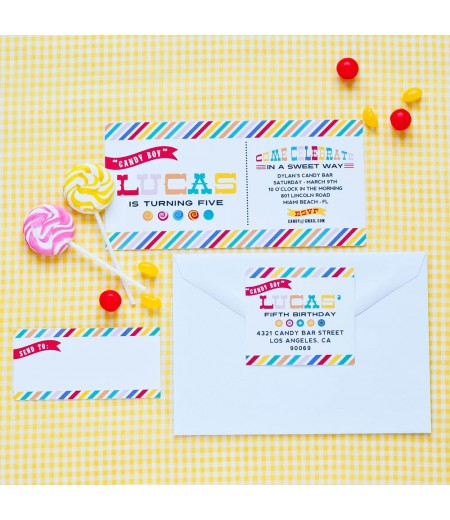 Candy Bar Sweet Shop Printable Birthday Party Invitation
