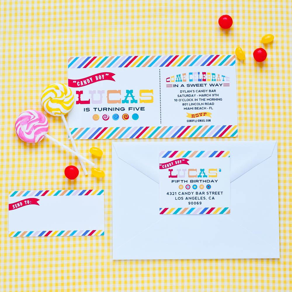 candy bar sweet shop printable birthday party invitation