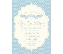 Elegant Baptism Printable Invitation - Baby Blue, Grey and Pale Yellow