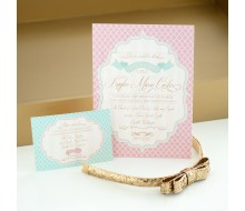 Elegant Shabby Chic Baptism Printable Invitation - Gold, Blush and Mint