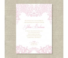 Elegant Lace Christening Baptism or Communion Printable Invitation - Pink and Gold