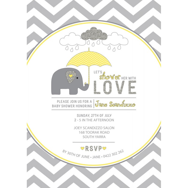 Yellow and Grey Elephant Baby Shower Printable Invitation