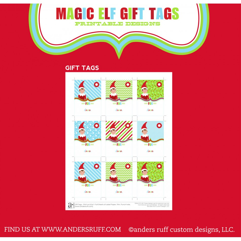 Magical Elf Printable Christmas Gift Tags Instant Download