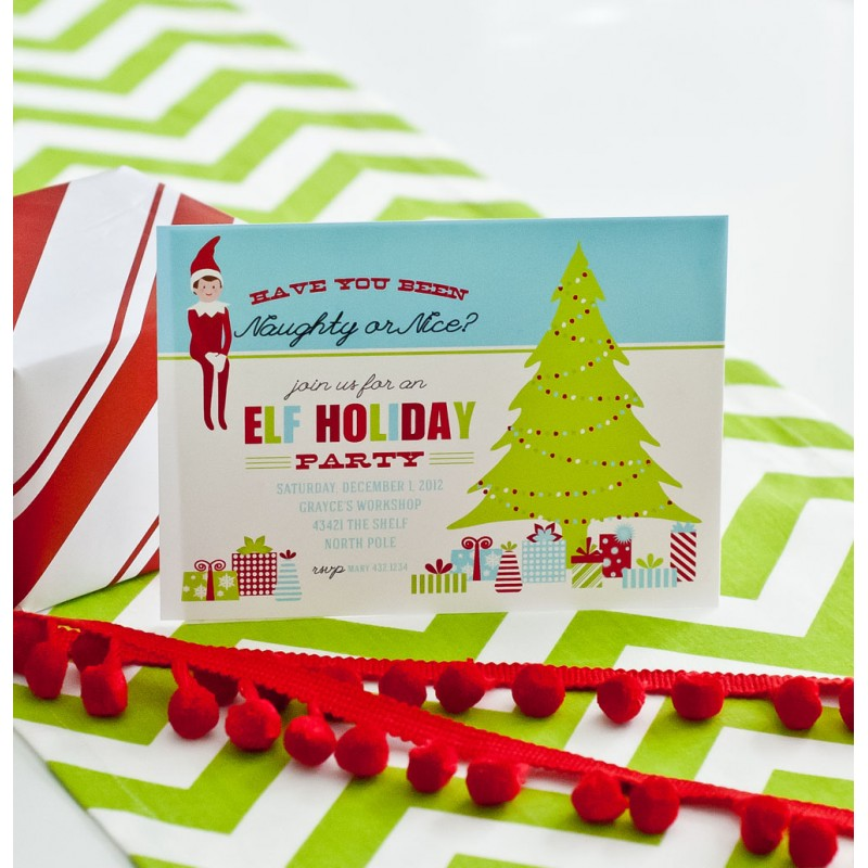 Elf Christmas Party Printable Invitation
