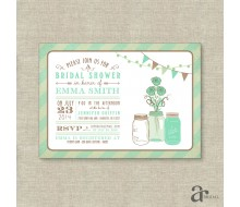 Mason Jar Bridal Shower, Birthday Party or Baby Shower Printable Invitation - Emma Collection - Mint