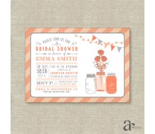 Mason Jar Bridal Shower, Birthday or Baby Shower Printable Invitation - Emma Collection - Coral