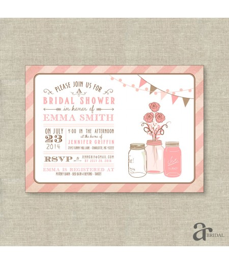 Mason Jar Bridal Shower, Birthday Party or Baby Shower Printable Invitation - Emma Collection - Pink