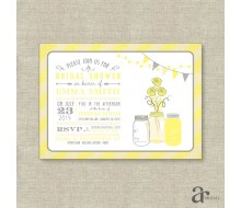 Mason Jar Bridal Shower, Birthday Party or Baby Shower Printable Invitation - Emma Collection - Yellow