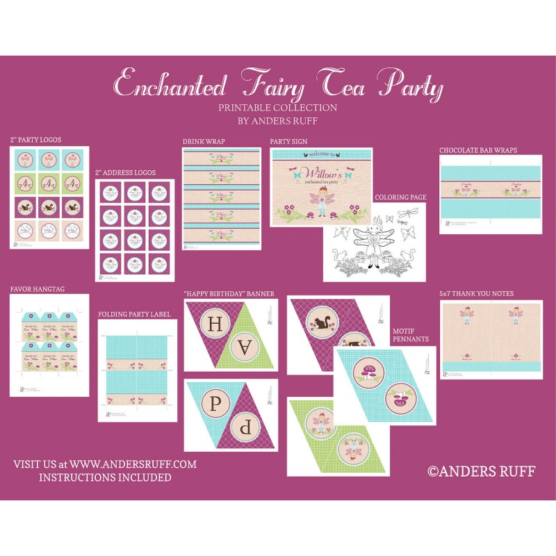 Enchanted Fairy Tea Party Birthday Party Printables Collection