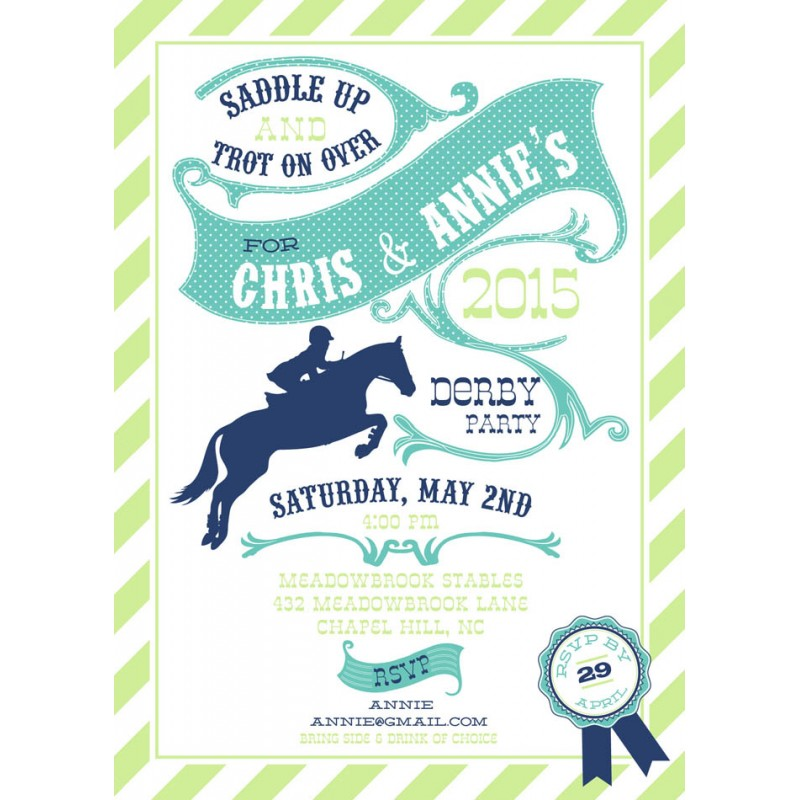 Derby Party Horse Race Party Printable Invitation