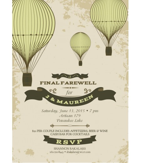 Farewell Going Away Moving Party Hot Air Balloon Party Printable Invitation