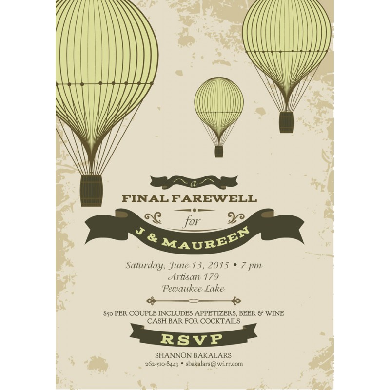 Going Away Moving Party Hot Air Balloon Party Printable Invitation