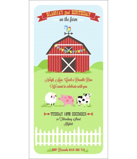 Classic Barnyard Farm Birthday Party Printable Invitation