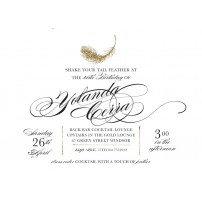 Feather White and Gold 40th Birthday Party or Bachelorette Party Printable Invitation