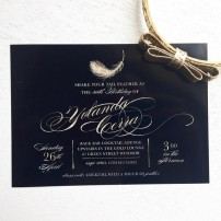 Feather Black and Gold 40th Birthday Party or Bachelorette Party Printable Invitation