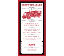 Vintage Firetruck Birthday Party Printable 4x8 Invitation