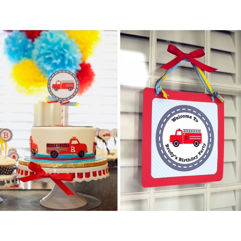 Firetruck Birthday Party Printables Collection