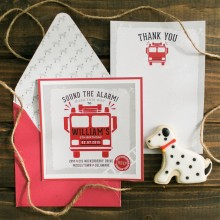 Firetruck and Dalmation Birthday Party Printable 5x5 Invitation