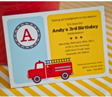 Firetruck Birthday Party Printable Invitation - Yellow