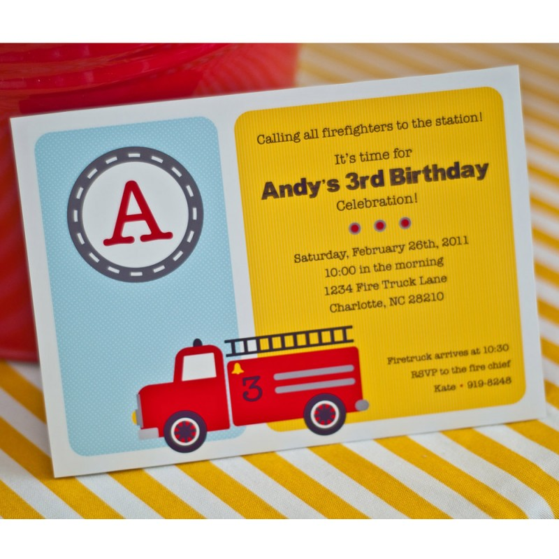 Birthday Party Printable Invitation Yellow – Fire Truck Party Invitations