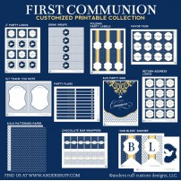 First Communion Navy Yellow Elegant Printables Collection