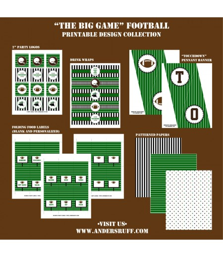 Football Tailgate Printable Party Collection - Instant Download