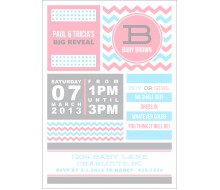 Chevron Gender Reveal Baby Shower Printable Invitation