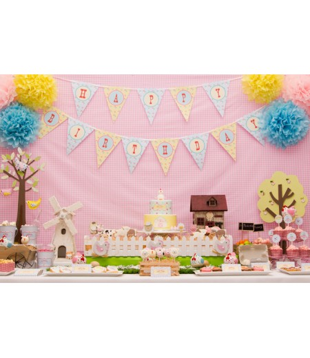 Girlie Pastel Barnyard Farm Birthday Party Printables Collection