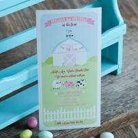 Girlie Pastel Barnyard Farm Birthday Party Printable Invitation