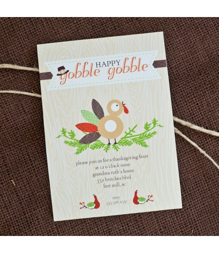 Gobble Gobble Turkey Thanksgiving Printable Invitation