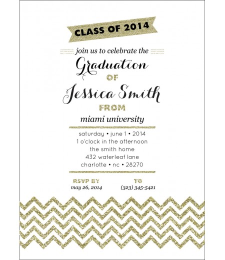 Gold Chevron Sparkle Glitter Graduation Party Printable Invitation