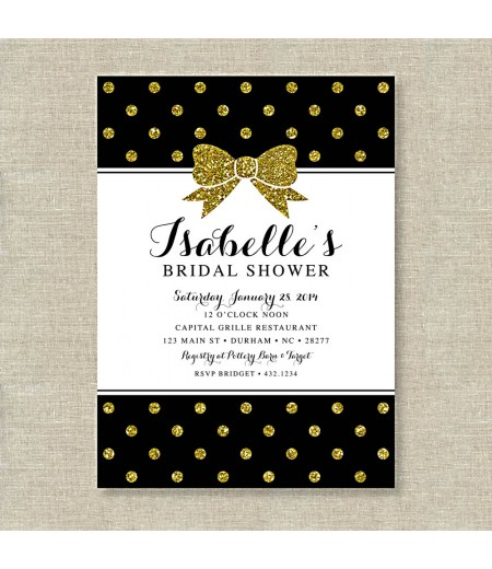 gold glitter polka dot bow bridal shower printable invitation