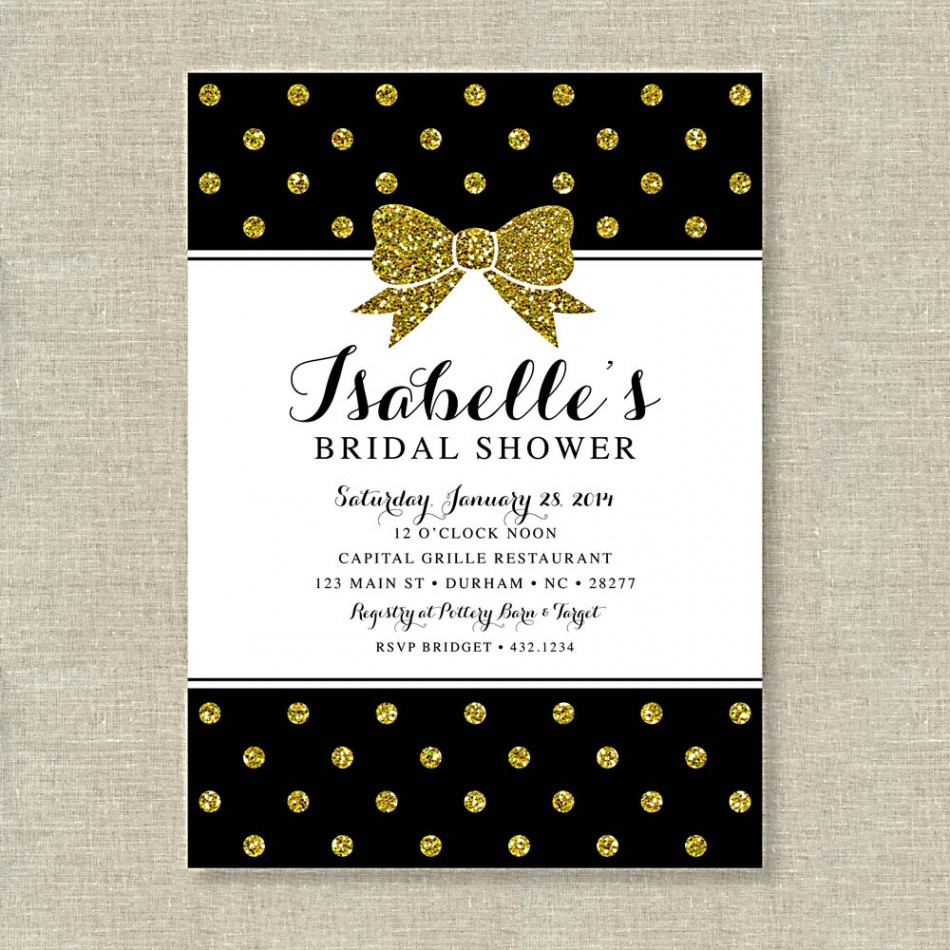 Bridal shower invitations bridal shower invitations black for Black and gold wedding shower invitations