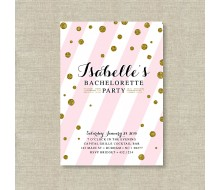 Gold Glitter Polka Dot with Blush Pink Bachelorette Party Printable Invitation