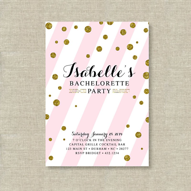 gold glitter polka dot with blush pink bachelorette party printable