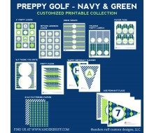 Preppy Golf Birthday Party Printables Collection - Navy and Green