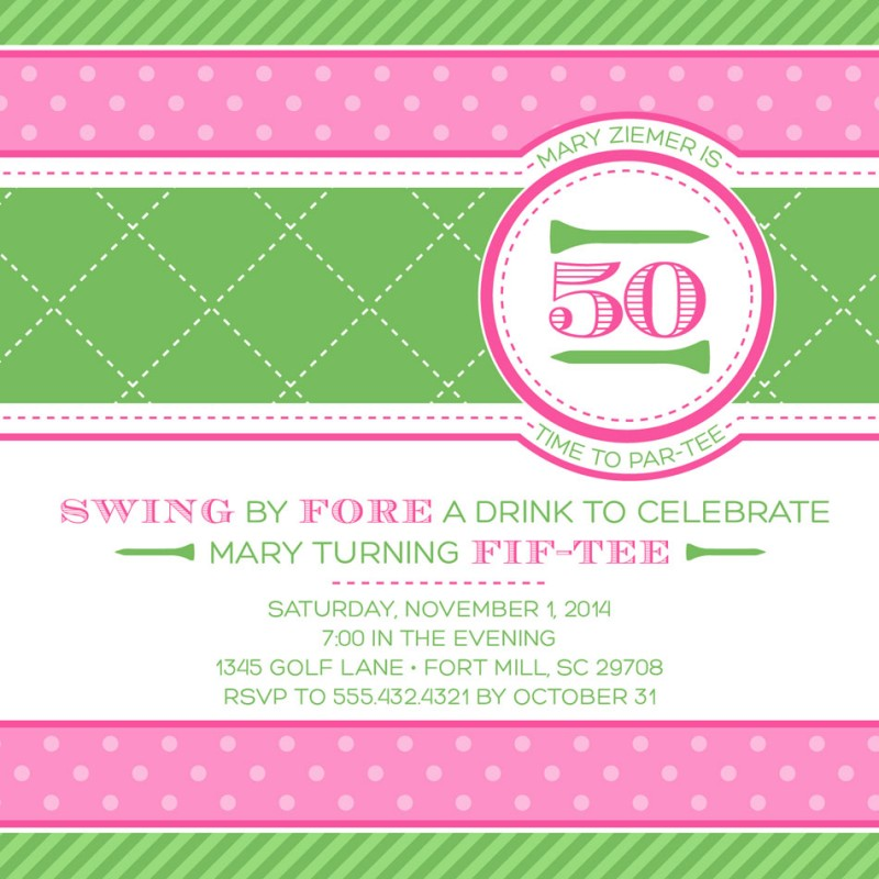 Preppy golf for girls birthday party printable 5x5 invitation filmwisefo