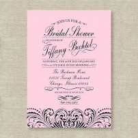Gorgeous Lace Bridal Shower or Bachelorette Party Printable Invitation - Pink and Black