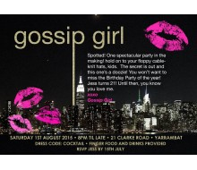 Gossip Girl Inspired Gold Glitter NYC Birthday Party Printable Invitation