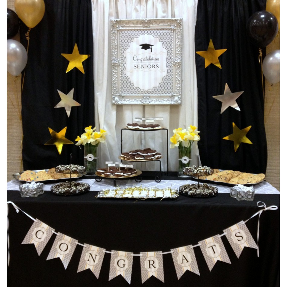 Modern graduation party printable collection black - Black silver and white party decorations ...