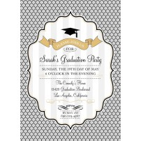 Modern Graduation Printable Invitation - Gold, Silver, Black and White