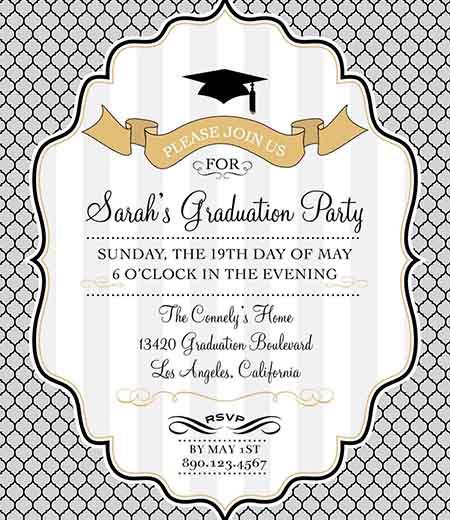 Modern Graduation Printable Invitation - Gold, Silver, Black and White