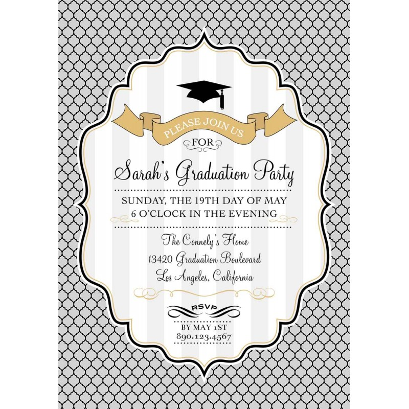 Graduation Printable Invitation Gold Silver Black and White – Black and Gold Graduation Invitations
