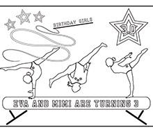 Gymnastics Tumbling Party Printable Coloring Page