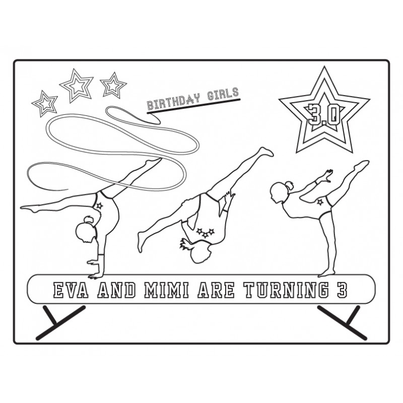 Gymnastics Tumbling Party Printable Coloring Page