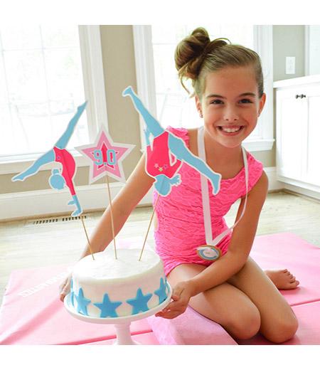 Gymnastics Tumbling Birthday Party Customized Cake Topper Set