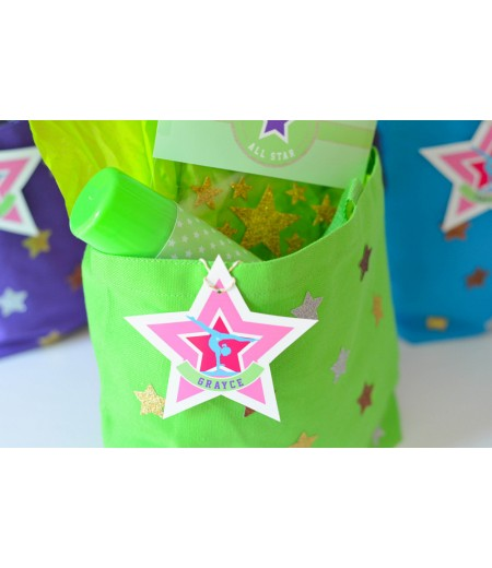 Gymnastics Tumbling Party Printable Customized Star Labels
