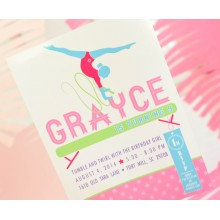 Gymnastics Tumbling Dance Party Teen Tween Birthday Party Printable Invitation